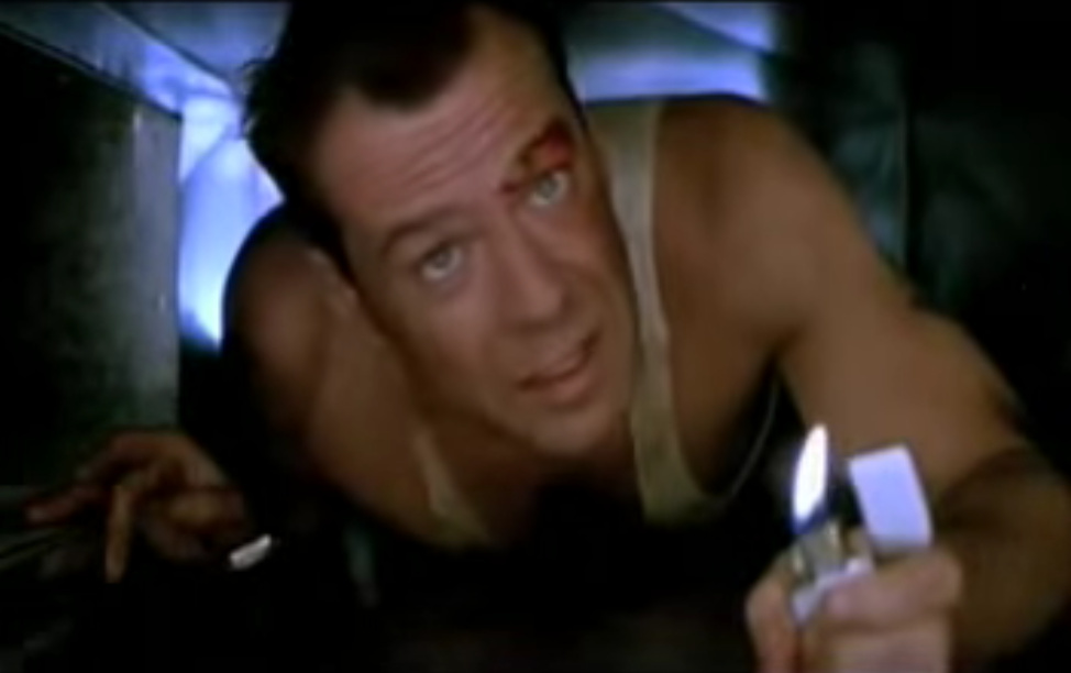 A screenshot from YouTube of Bruce Willis in 1988's 'Die Hard.'