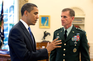 File photo:  In this handout from the The White House, President Barack Obama meets with Lt. Gen. Stanley A. McChrystal, the U.S. Commander for Afghanistan, in the Oval Office May 19, 2009 in Washington, DC.