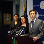 Washington State Attorney General Bob Ferguson announces his decision on potential action regarding President Donald Trump's latest Executive Order on immigration on March 9, 2017.