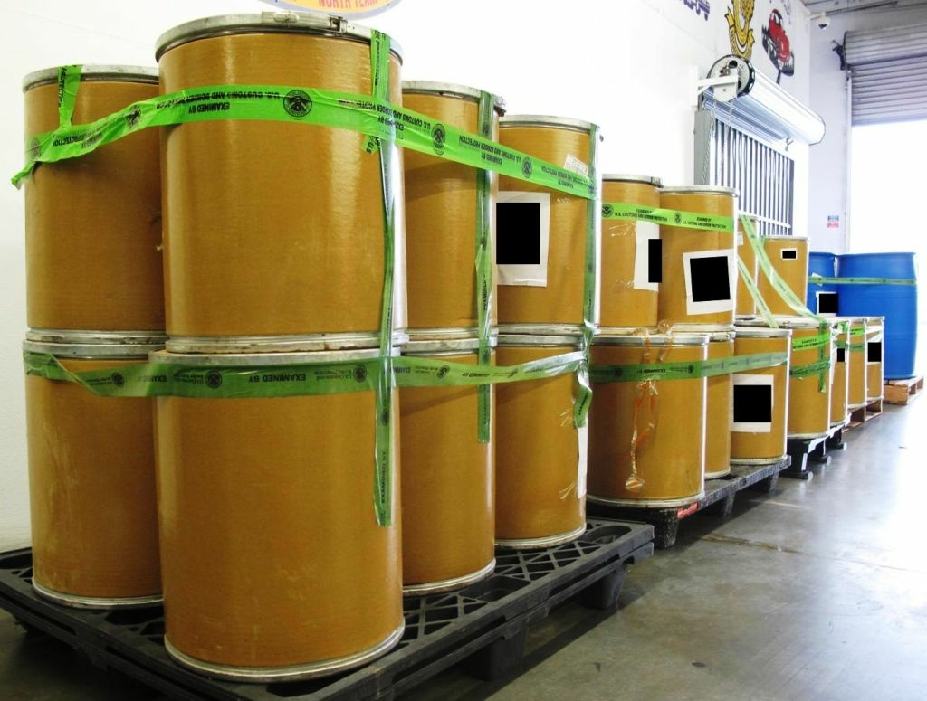 This large shipment of methylamine was intercepted by CBP agents at LAX in September 2011. The recent seizure at LAX was about twice as large.