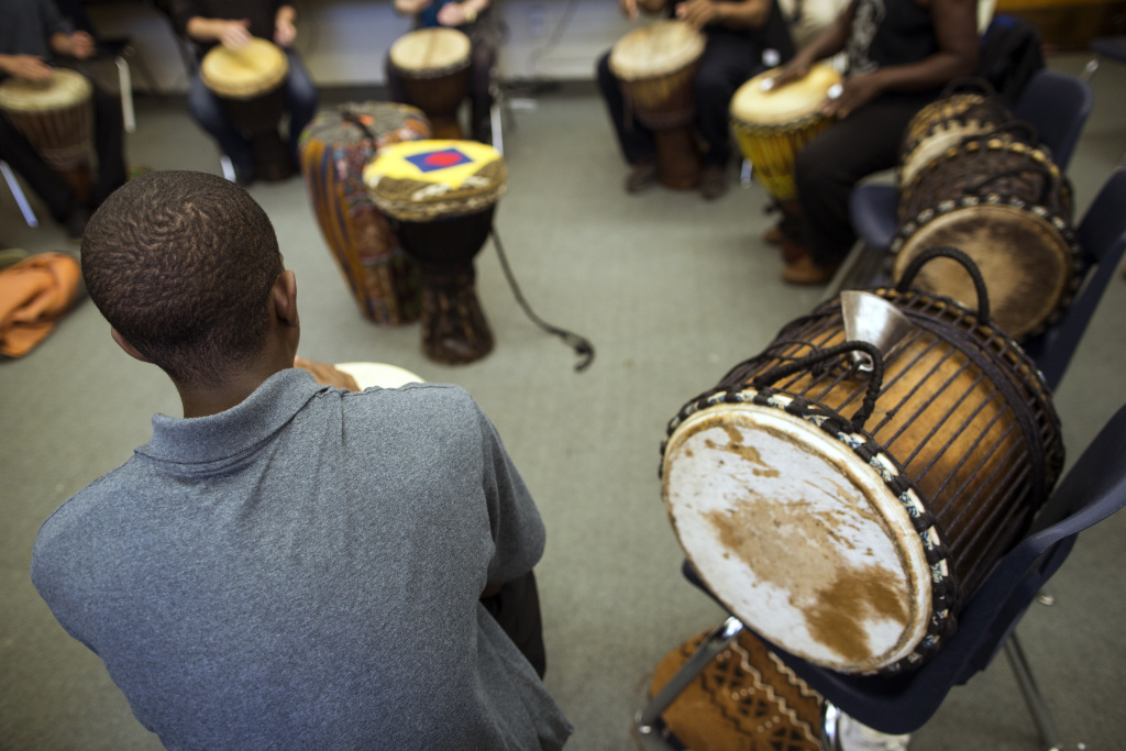 Students take an African drumming class at Camp Afflerbaugh, a juvenile detention facility in La Verne, on Wednesday afternoon, May 4, 2016. At the conclusion of the 11-week class, students will receive a certificate of achievement they can show to a judge.