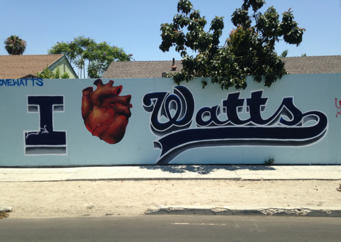A mural near the historic Watts Train Station.