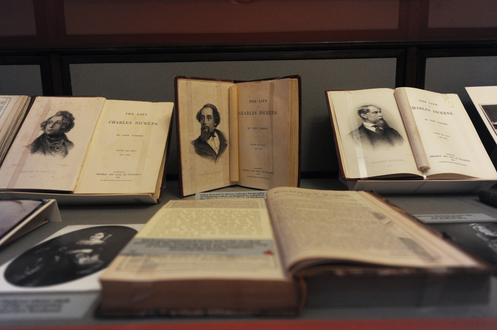 A picture shows a collection of early editions of novels written by British author Charles Dickens at the Charles Dickens Museum based in a house where the novelist lived in central London on February 6, 2012.