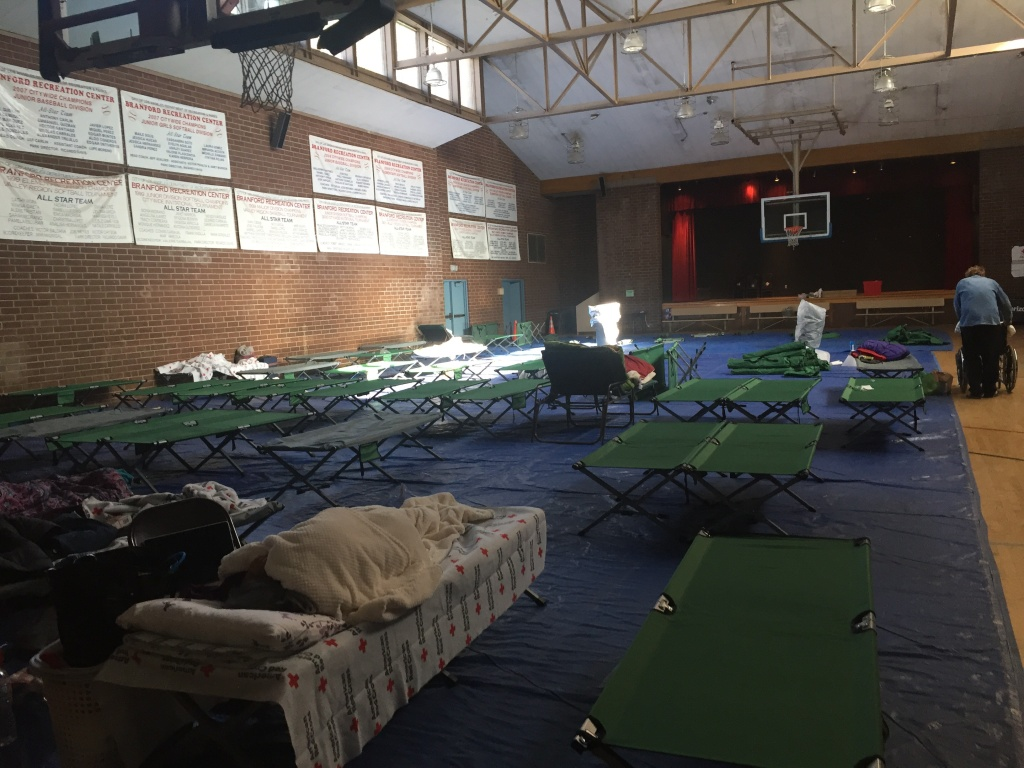 The Red Cross set up an emergency shelter for Creek Fire evacuees at the Branford Recreation Center in Arleta.