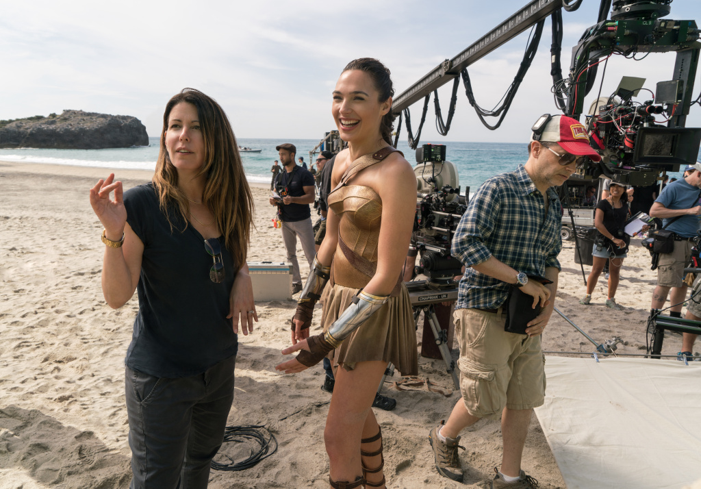 Director Patty Jenkins and actor Gal Gadot on the set of