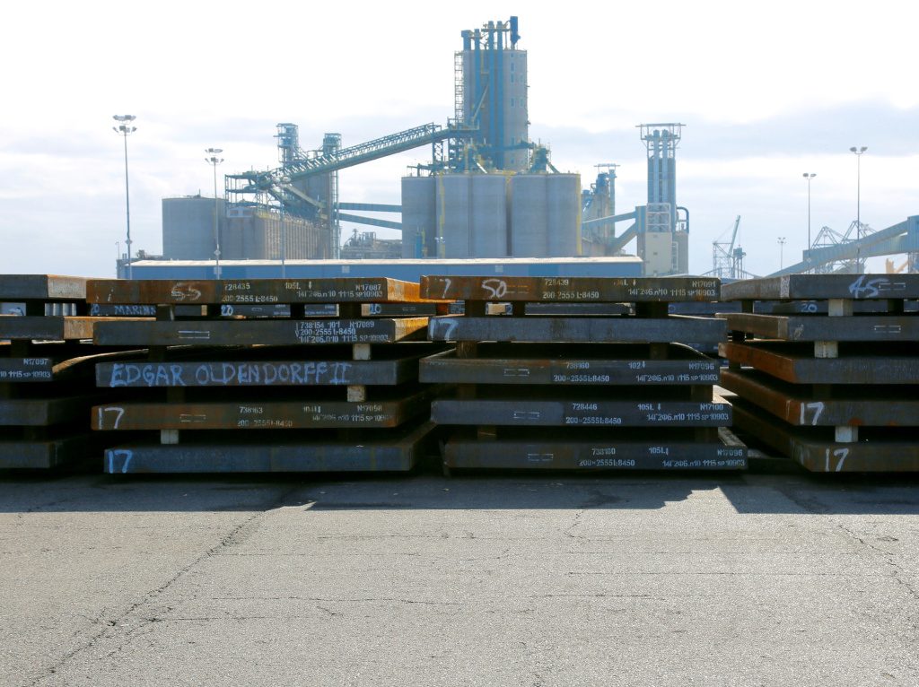 Slabs of steel are laid down in the work yard at Washington's Port of Vancouver. Steel makes up more than a third of the port's annual revenue.