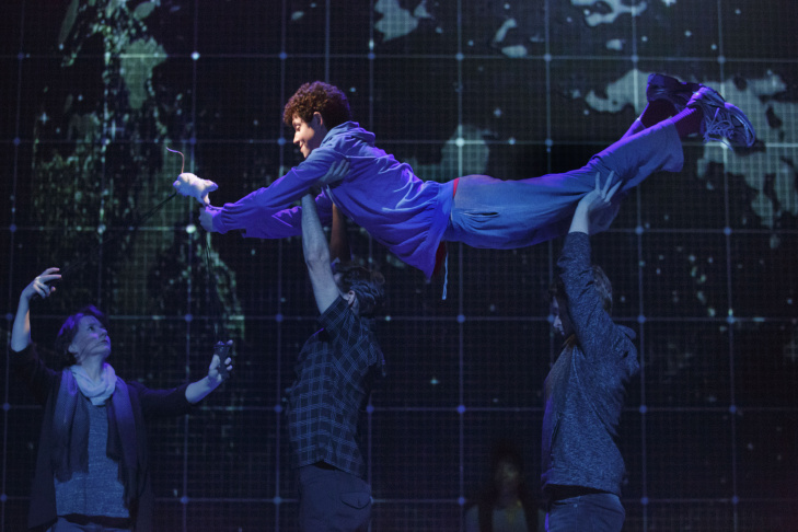 "Adam Langdon as Christopher Boone in the touring production of ""The Curious Incident of the Dog in the Night-Time,"" at the Ahmanson Theatre."