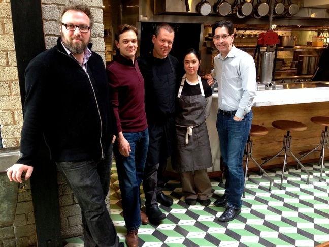 From left to right: Taylor Parsons, Republique Beverage Director and Sommelier , Christian Philippo, General Manager, Walter Manzke, Chef, Margarita Manzke, Chef, and Bill Chait, Managing Partner.