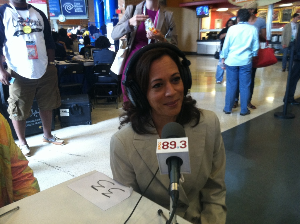 California Attorney General Kamala D. Harris speaks with KPCC radio host Patt Morrison (off camera) in Charlotte, North Carolina on September 6, 2012 during the Democratic National Convention.
