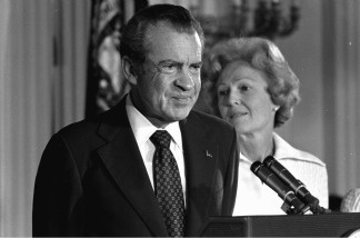 President Richard M. Nixon and his wife Pat Nixon are shown standing together in the East Room of the White House in Washington, on Aug. 9, 1974.