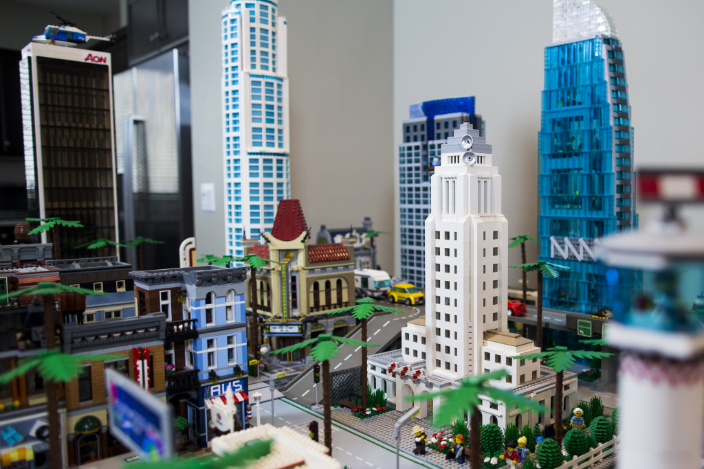 A Lego version of Los Angeles City Hall stands as part of Jorge Parra Jr.'s Lego version of LA, which spans about eight by nine feet.