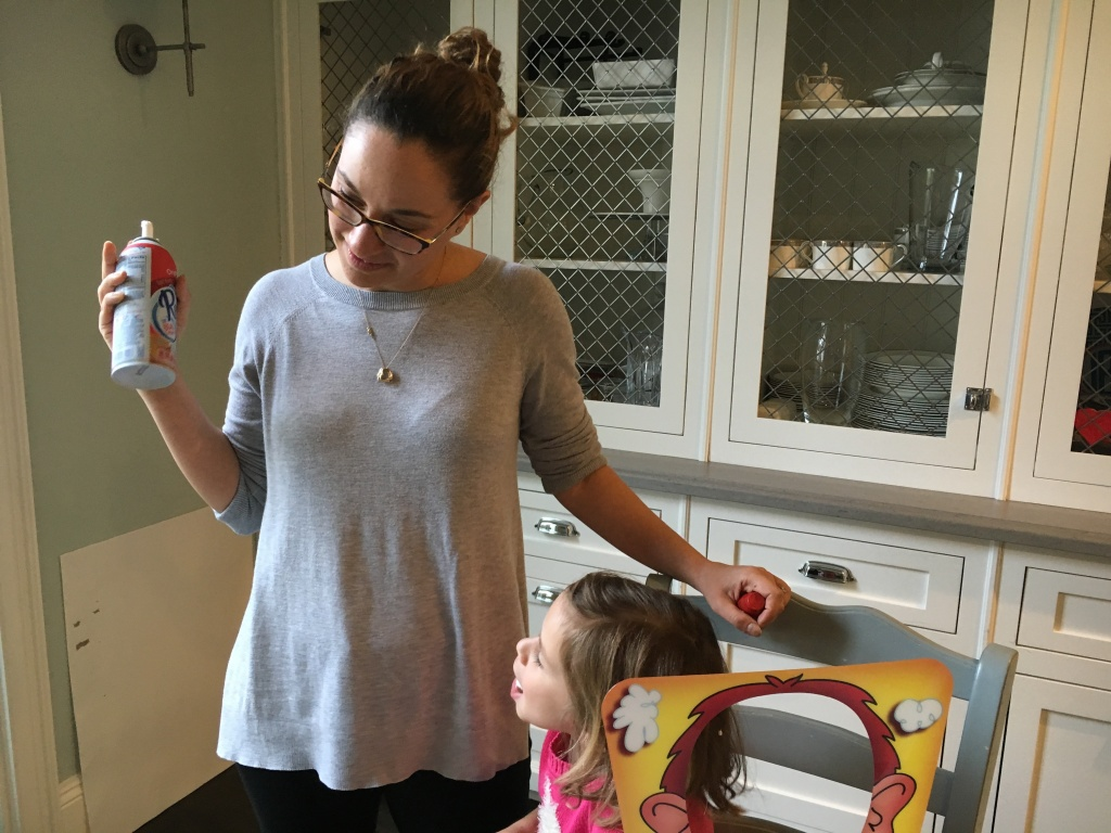 Jo Bloomfield plays a game called Pie Face with her daughter, 6-year-old Charlotte. Bloomfield had postpartum depression after Charlotte's birth.