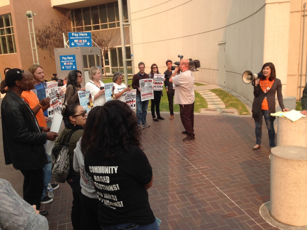 Anti-jail protesters outside the Century Regional Detention Facility in Lynwood.
