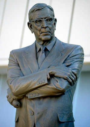 The 8-foot statue of Coach John Wooden glares over the crowd at Westwood.