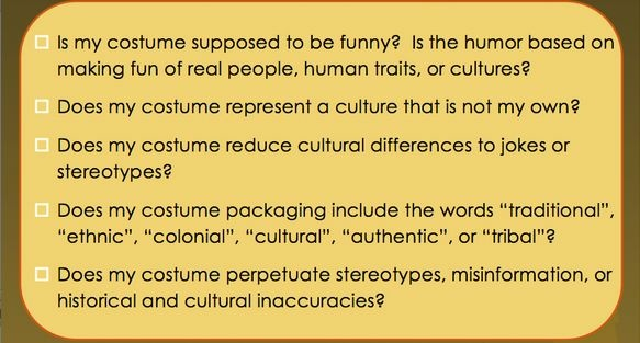 halloween costume racist checklist