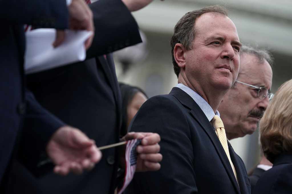 U.S. Rep. Adam Schiff (D-CA) listens during a news conference in front of the U.S. Capitol.