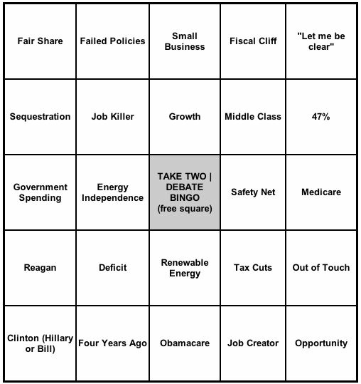 Screenshot of the Take Two Debate Bingo game.