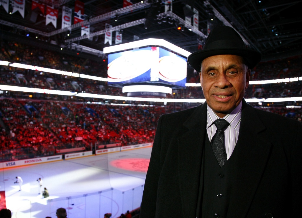 Willie O'Ree poses for a photograph during the NHL All Star Game at Bell Centre on January 25, 2009 in Montreal.