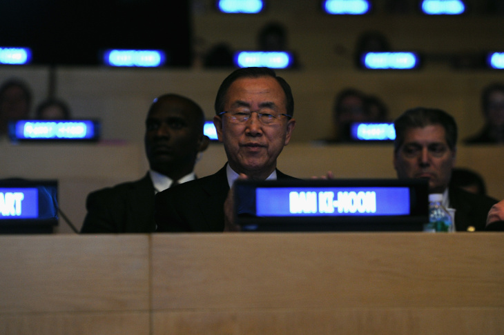 U.N. Secretary-General Ban Ki-Moon attends the United Nations and OMEGA presention of Planet Ocean at United Nations on September 11, 2013 in New York City. Ban said Friday on U.N. television that he expected