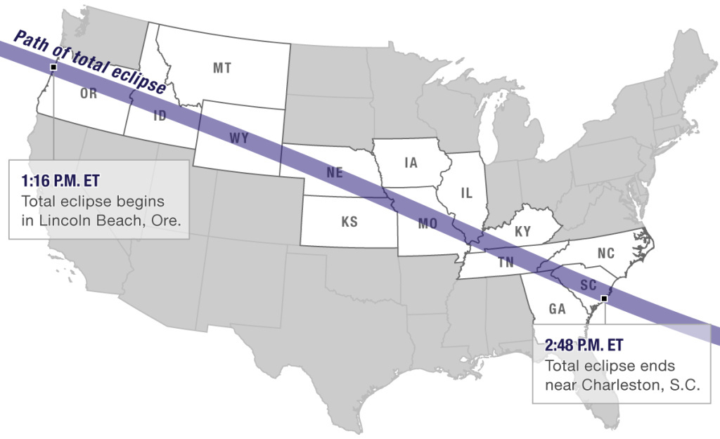 The path of the Aug. 21 eclipse. Source: NASA
