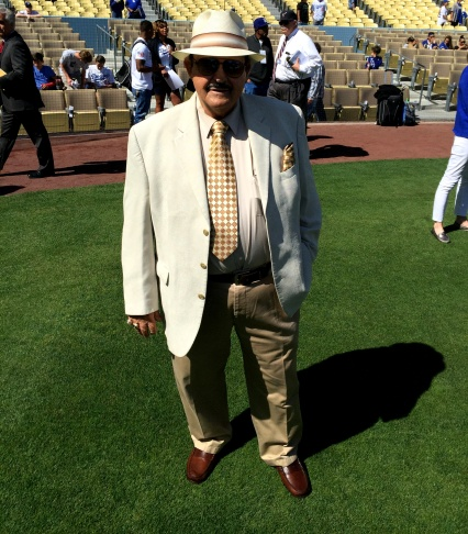 Legendary Dodger scout Mike Brito, on the field for Opening Day, 2015.