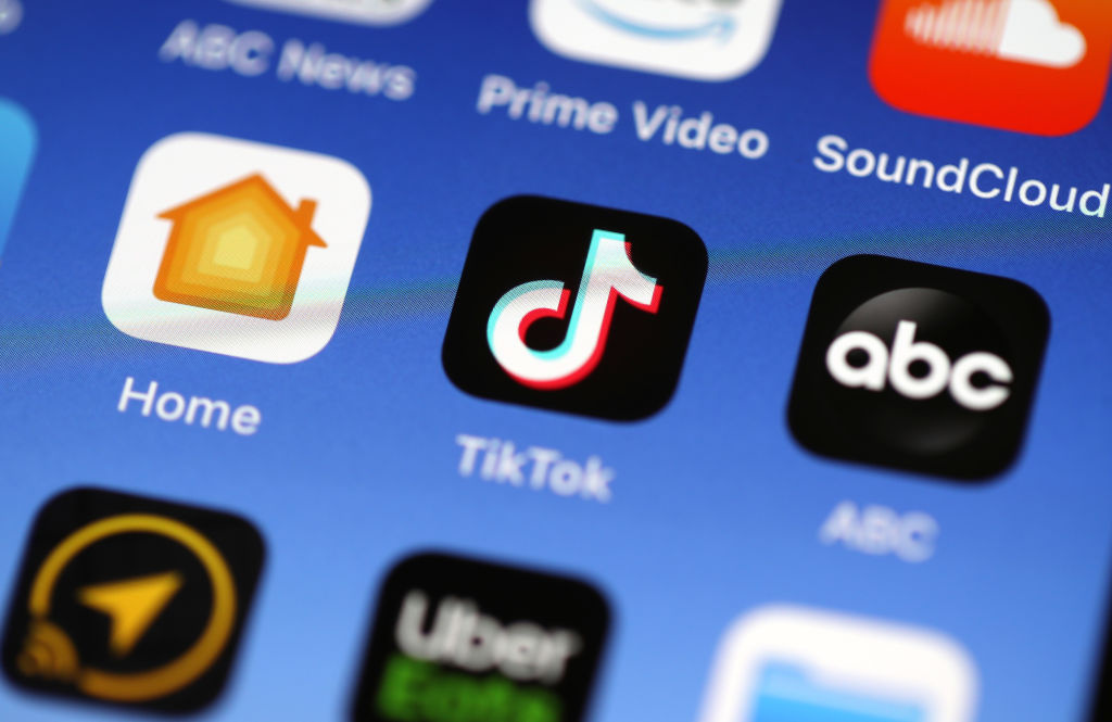 In this photo illustration, the Tik Tok app is displayed on an Apple iPhone on November 01, 2019 in San Anselmo, California.