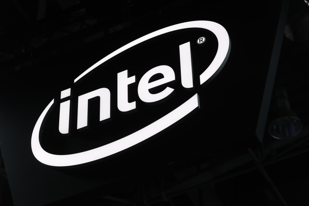 The logo for 'Intel' is displayed during the 2017 Paris Games Week exhibition at the Porte de Versailles exhibition centre in Paris.