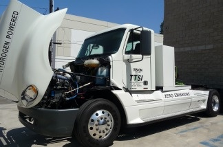 A Tyrano truck is displayed at Vision Industries headquarters in El Segundo, CA. Vision Industries handed over the keys to this zero emissions, hydrogen fuel cell class 8 truck to the Port of Los Angeles Friday.