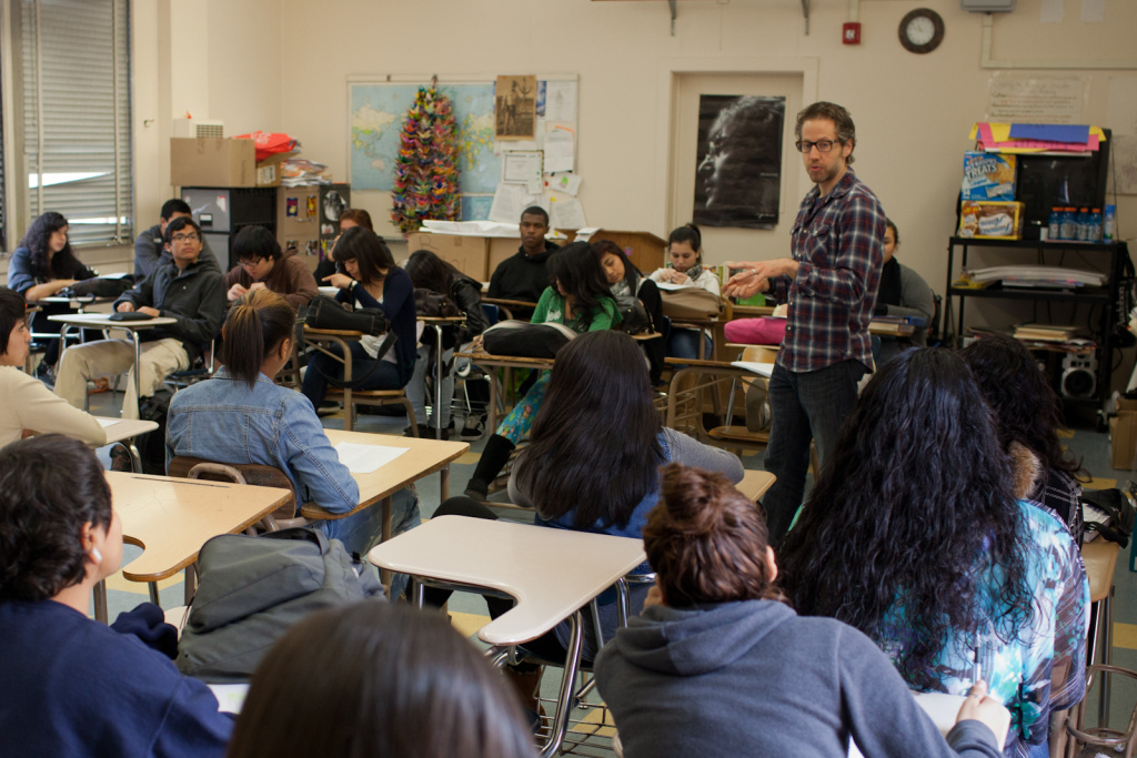 Brock Cohen, a Humanitas program teacher at Grant High School, teaches 11th grade American Literature and 9th grade Humanities. He has been teaching for 11 years.