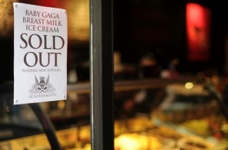 "After it sold out of its first batch of breast milk ice cream, The Icecreamists store posted a sign promising customers that more ""Baby Gaga"" ice cream was on the way."