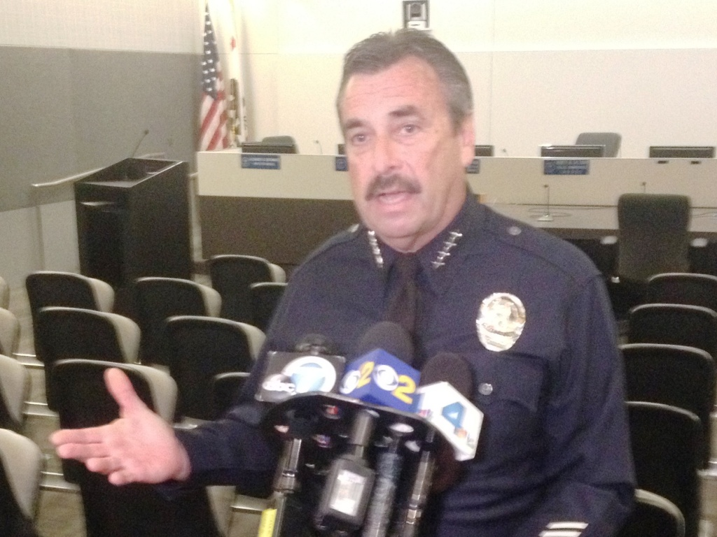 Los Angeles Police Chief Charlie Beck spoke with reporters, denying accusations that he improperly influenced a disciplinary matter involving his daughter, who is an LAPD officer.