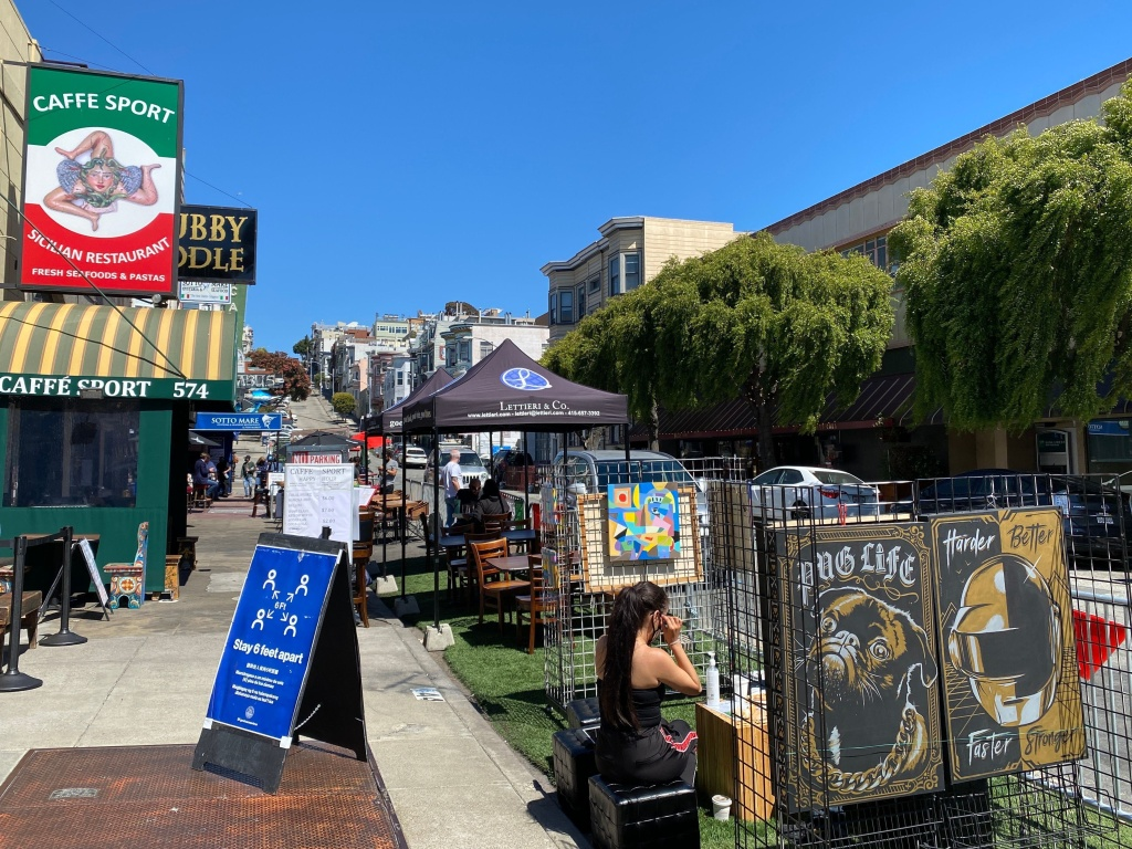 Little Italy neighborhood of San Francisco, July 2020. The city will relax coronavirus restrictions Wednesday, including the reopening of indoor dining and fitness facilities.