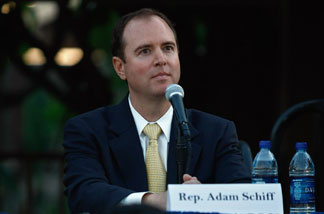 Rep. Adam Schiff (D-CA) listens to questions during a Town Hall meeting on August 11, 2009 in Alhambra, California.