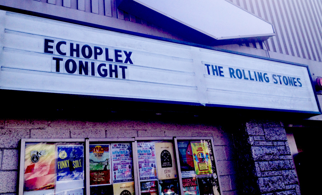 The marquee at the relatively small Echoplex announces Saturday's surprise Rolling Stones concert.