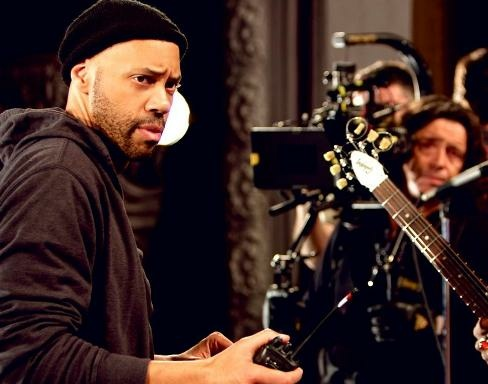 Screenwriter John Ridley on set of  his film