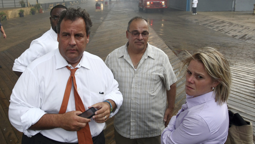 New Jersey Gov. Chris Christie is shown here with former top lieutenant Bridget Anne Kelly last September, as they toured fire-damaged boardwalk areas. This month, Christie fired Kelly, his deputy chief of staff.