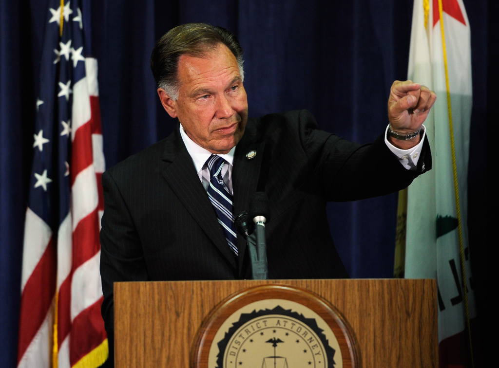 Orange County District Attorney Tony Rackauckas says he'll release he will reverse course and release information to immigrant right activist?    speaks during a news conference to announce that two Fullerton, California police officers were charged in connection with the death of  Kelly Thomas, a schizophrenic homeless man who died after the altercation with several police officers, on September 21, 2011 in Santa Ana, California. Officer Manuel Ramos was charged with second-degree murder and involuntary manslaughter, while Cpl. Jay Cicinelli was charged with involuntary manslaughter and use of excessive force.  (Photo by Kevork Djansezian/Getty Images)