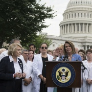 US House Democratic Leader Nancy Pelosi (C), Democrat of California, speaks alongside doctors, nurses and healthcare providers against the Republican healthcare bills during a rally on Capitol Hill in Washington, DC, June 22, 2017.