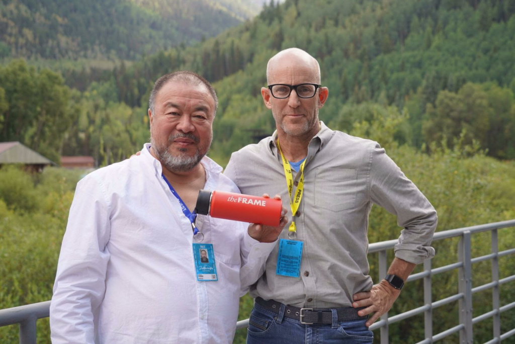 Chinese artist Ai Wei Wei and Frame host John Horn at the Telluride Film Festival on September 3, 2017.