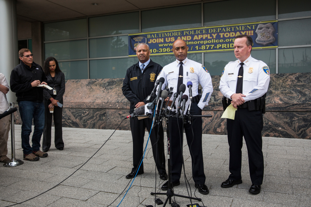 Baltimore Police Commissioner Anthony Batts (2nd R) speaks at a press conference regarding the death of Freddie Gray on April 30, 2015 in Baltimore, Maryland. It was announced that the van carrying Gray had stopped a second, previously undisclosed, time.