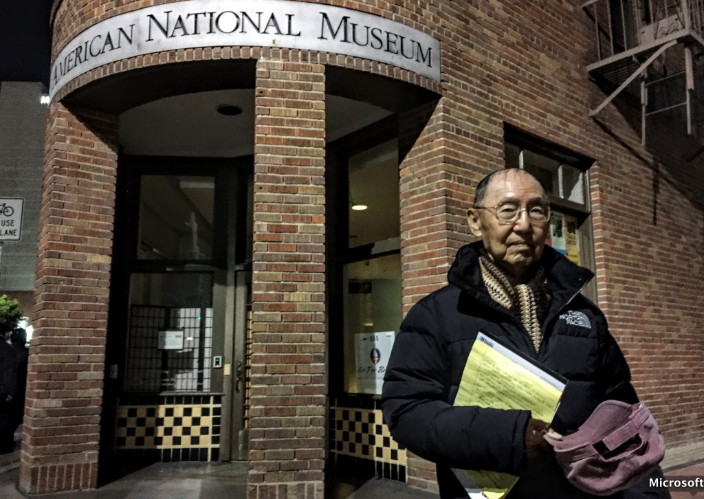 Jim Matsuoka, 80, stands in the spot where as a boy, he and his family waited to board a bus for the Manzanar internment camp near Death Valley.