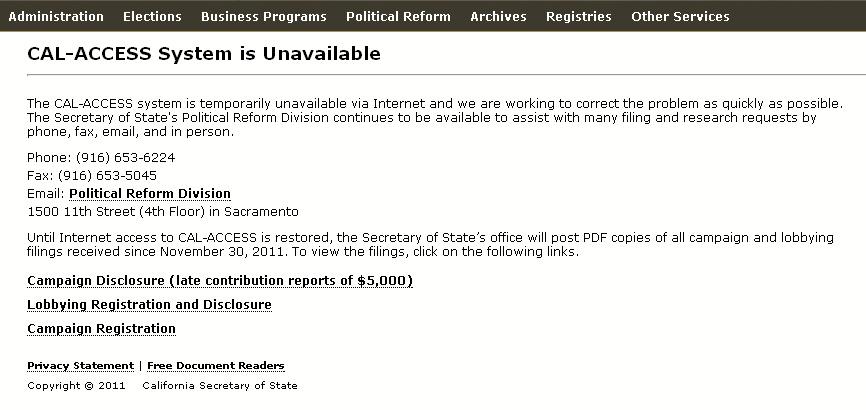 A screenshot of the CAL-ACCESS website, December 27, 2011.