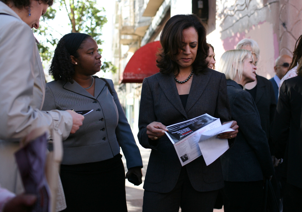 San Francisco District Attorney Kamala Harris looks at a new pamphlet before a No on K press conference October 29, 2008 in San Francisco, California.