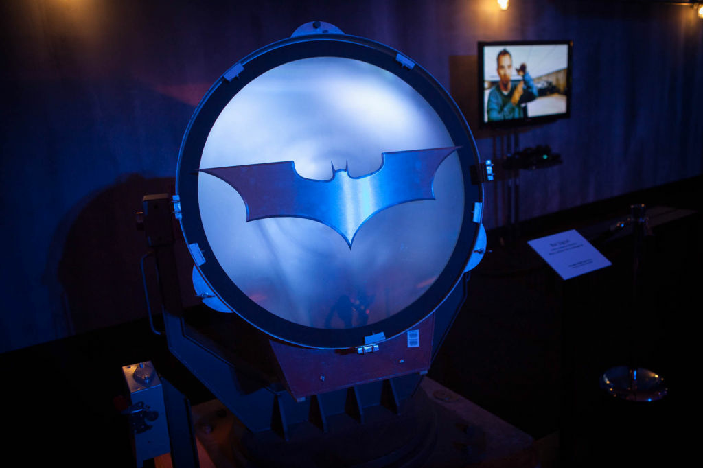 The bat signal from the Dark Knight trilogy.