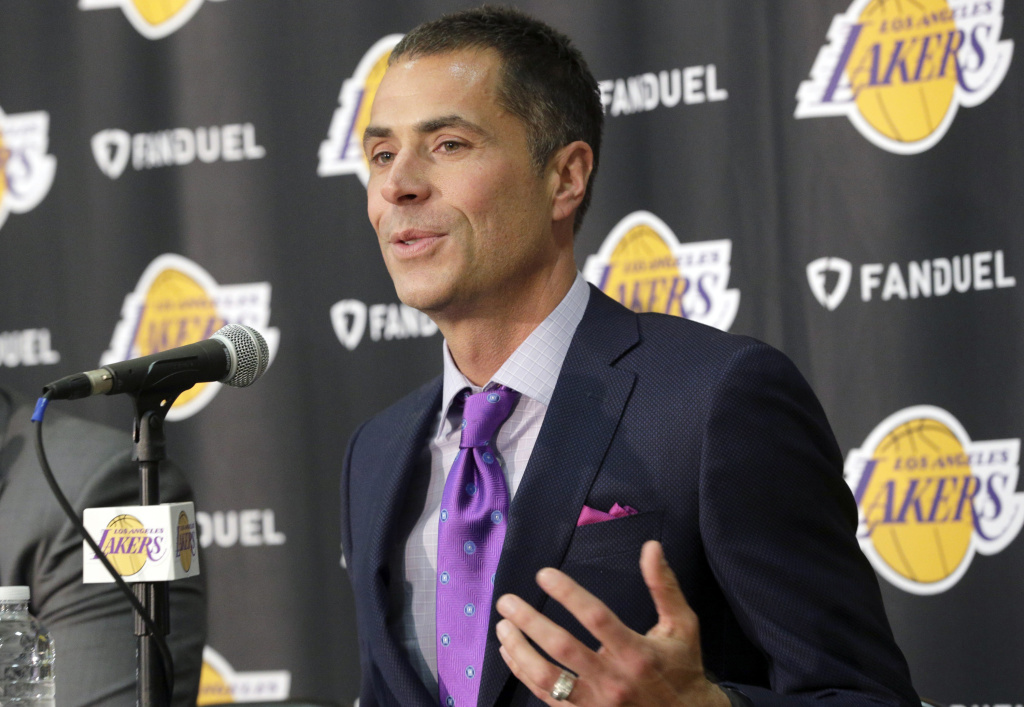 Rob Pelinka talks during a news conference introducing him as the new general manager for the Los Angeles Lakers, in El Segundo on Friday, March 10, 2017. Pelinka, Kobe Bryant's longtime agent, will work with Magic Johnson to try to rebuild the 16-time NBA champions from the worst four-year stretch in team history.