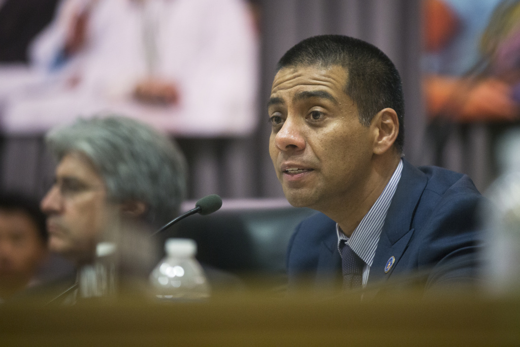 Board Member Ref Rodriguez speaks during LAUSD's Annual Board of Education Meeting on Wednesday, July 1, 2015 at LAUSD Headquarters.