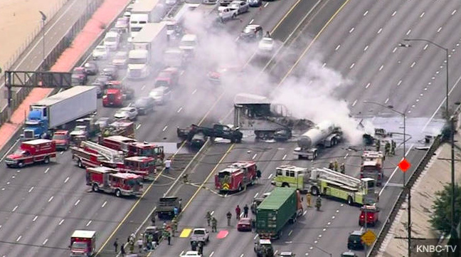 Fiery, deadly wreck snarls Interstate 5 in Los Angeles