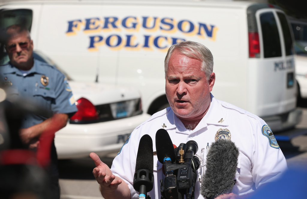 In this file photo, police Chief Thomas Jackson fields questions related to the shooting death of teenager Michael Brown during a press conference on August 13, 2014 in Ferguson, Missouri. In the wake of a scathing Justice Department report, Jackson resigned on Wednesday, March 11, 2015.