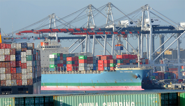 A container is off loaded from a ship at the Port of Los Angeles in San Pedro, California on May 12, 2010.