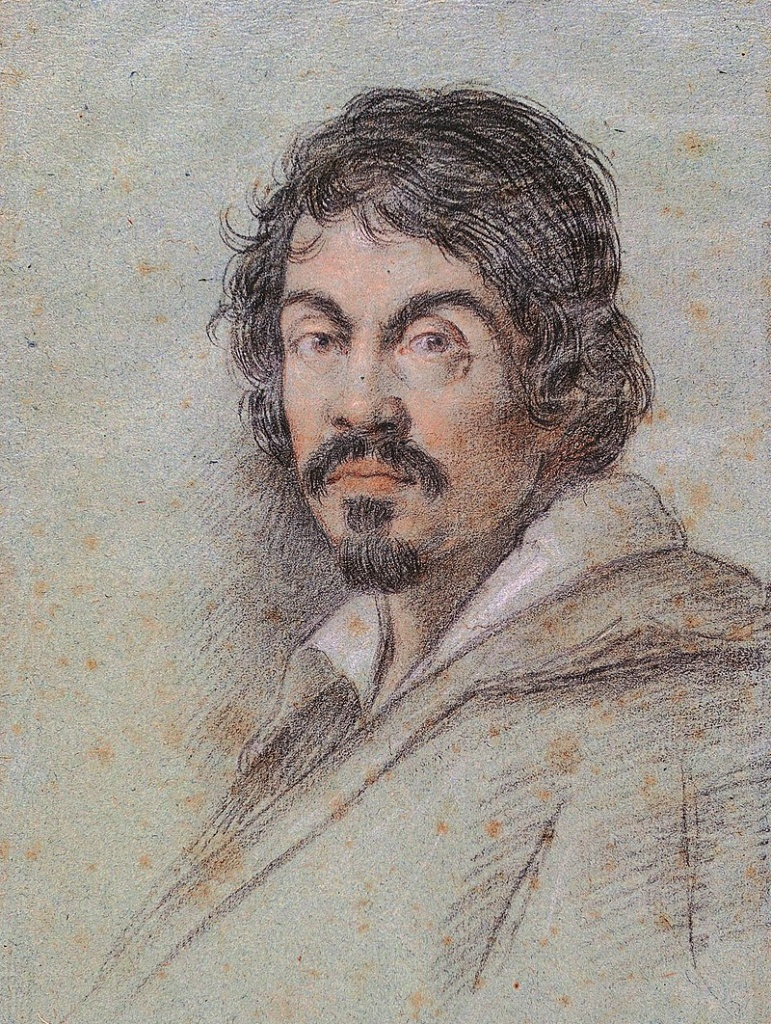 Chalk portrait of Caravaggio by Ottavio Leoni, circa 1621.